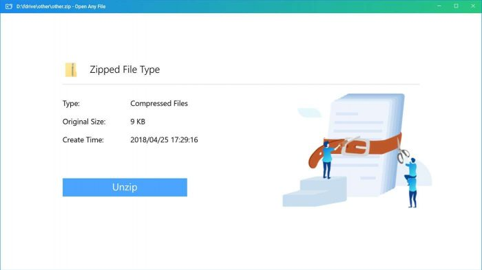Unzip any file