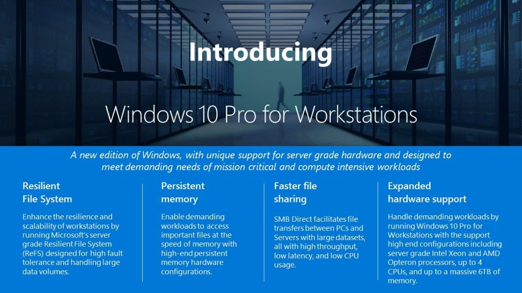 Windows 10 Pro For Workstations Infographic