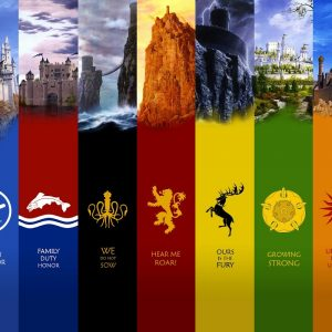 All houses logos game of thrones background 4k