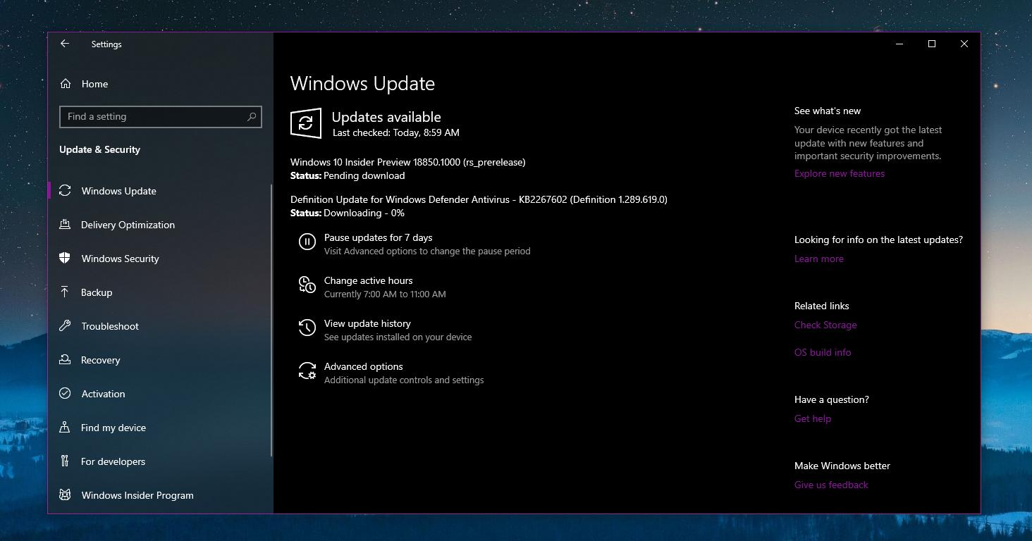 windows 10 april 2020 update build 18850 now available for