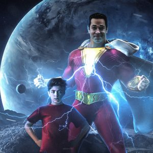 Asher angel with zachary levi background