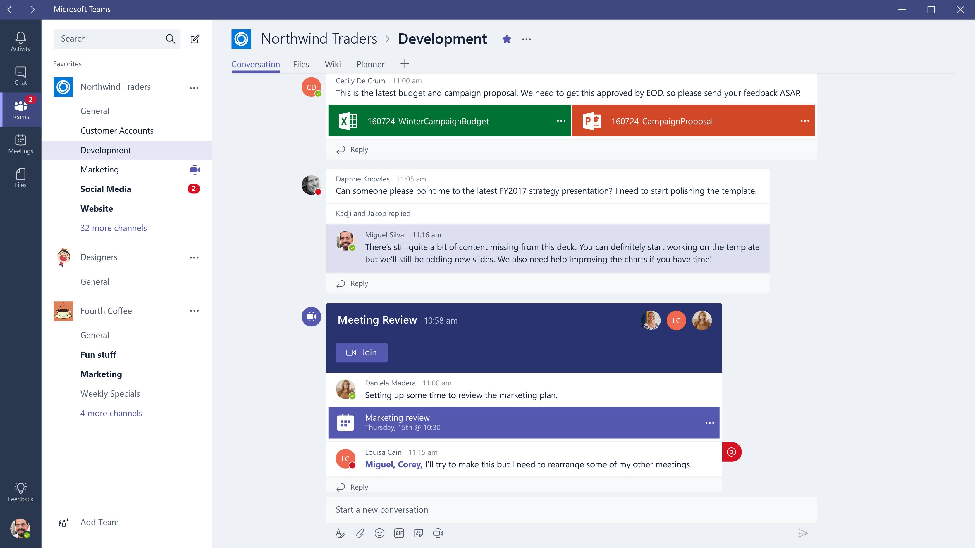 Microsoft teams content