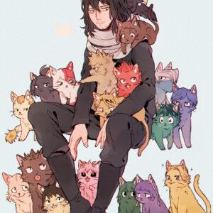 Aizawa hd with cats background