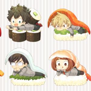 Chibi food characters cute scaled