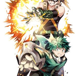Deku with baku quirk attack