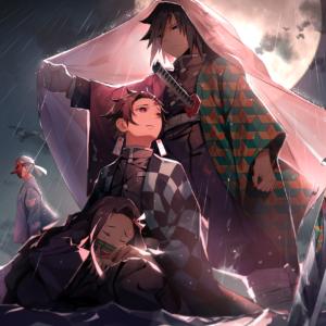 Giyuu protecting nezuku and tanjirou