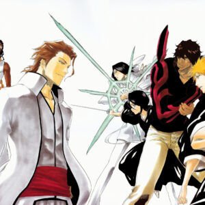 Aizen with gin and kaname tosen