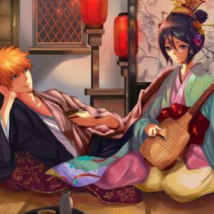 Rukia with ichigo in japan