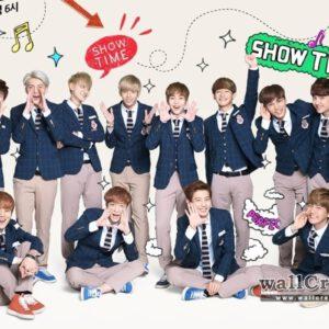EXO members wearing school uniforms